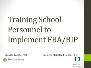 Training School Personnel to Implement FBA/BIP