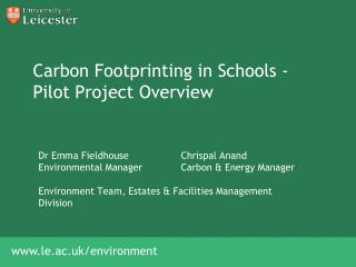 Carbon  Footprinting  in Schools - Pilot Project Overview