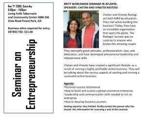 Seminar on Entrepreneurship