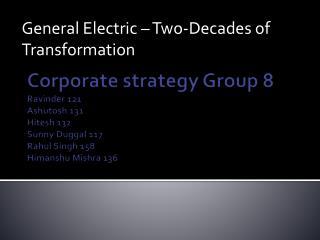 Corporate strategy Group 8  Ravinder  121 Ashutosh  131 Hitesh 132 Sunny  Duggal  117 Rahul Singh 158 Himanshu Mishra