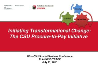 Initiating  Transformational  Change:  The  CSU Procure-to-Pay Initiative