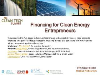 Financing for Clean Energy Entrepreneurs