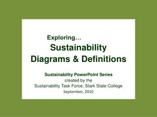 Exploring …          Sustainability  Diagrams & Definitions Sustainability PowerPoint Series c reated by the  Sustain