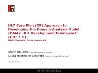 HL7  Care  Plan (CP ) Approach to Developing the Domain Analysis Model (DAM):  HL7 Development Framework  ( HDF 1.5) (W
