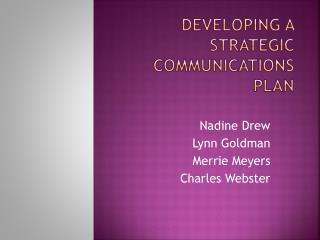 Developing a Strategic Communications Plan
