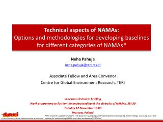 Technical aspects of NAMAs: Options and methodologies for developing  b aselines  for different  categories of NAMAs *