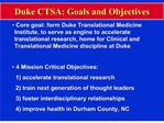 duke ctsa: goals and objectives
