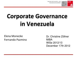 Corporate Governance in Venezuela