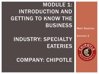 Module 1: introduction and getting to know the business Industry: Specialty eateries company: chipotle