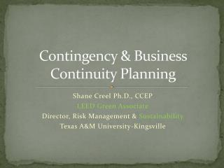 Contingency & Business  Continuity Planning