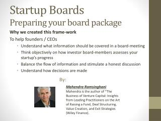 Startup Boards Preparing  y our board package