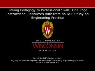 Linking  Pedagogy  to  Professional  S kills: One  P age  I nstructional  R esources  B uilt from  an  NSF Study  on En