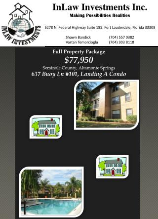 Full Property Package $77,950 Seminole County, Altamonte Springs 637 Buoy  Ln  #101, Landing A Condo