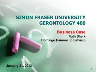 SIMON FRASER UNIVERSITY  GERONTOLOGY 400