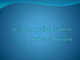 กระบวนการผลิตซอฟต์แวร์ ( Software Process)