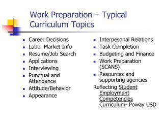 Work Preparation – Typical           Curriculum Topics