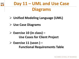 Day 11 – UML and Use Case Diagrams