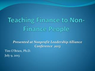 Teaching Finance to Non-Finance People