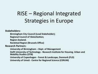 RISE – Regional Integrated Strategies in Europe