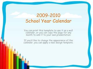 2009-2010  School Year Calendar