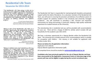 Residential Life Team Vacancies for  2013-2014