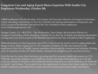 long-term care and aging expert shares expertise with seattl