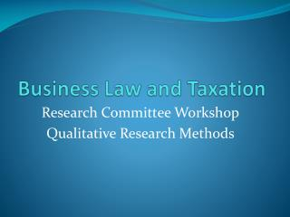 Business Law and Taxation