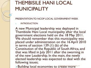 THEMBISILE HANI LOCAL MUNICIPALITY
