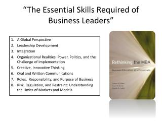 """The Essential Skills Required of Business Leaders"""
