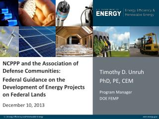 NCPPP and  the Association of Defense  Communities: Federal Guidance on the Development of Energy Projects on Federal L