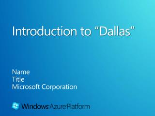 "Introduction  to  "" Dallas"""