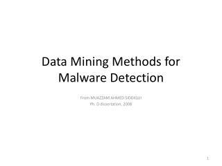 Data Mining Methods for Malware Detection