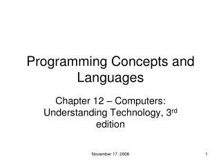 Programming Concepts and Languages