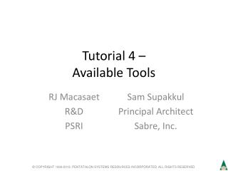 Tutorial 4 – Available Tools