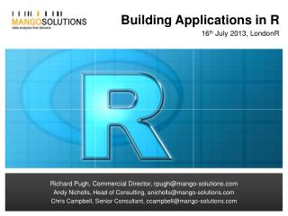 Building Applications in  R