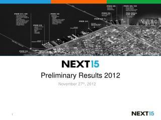 Preliminary Results  2012