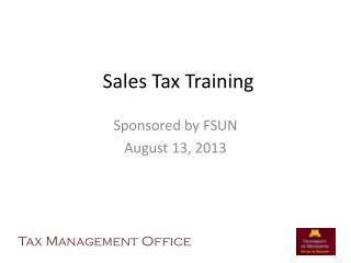 Sales Tax Training