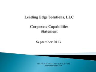 Leading Edge Solutions, LLC Corporate Capabilities Statement