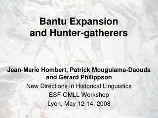 bantu expansion  and hunter-gatherers
