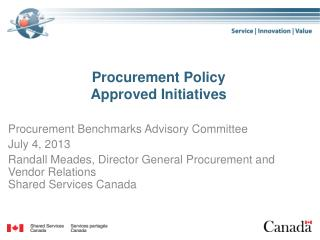 Procurement Policy Approved Initiatives