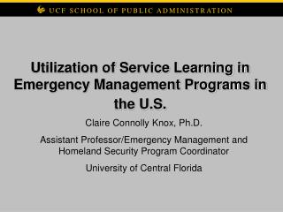 Utilization of Service Learning in Emergency Management Programs in the U.S.