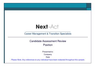 ______________________________________ Career Management & Transition Specialists