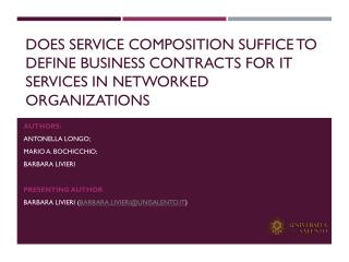 Does service composition suffice to define business contracts for IT services in Networked organizations