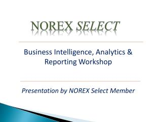 Business Intelligence, Analytics & Reporting Workshop
