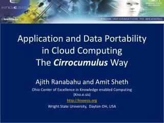 Application and Data Portability in Cloud Computing The  Cirrocumulus  Way