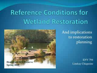 Reference Conditions for Wetland Restoration