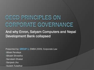 OECD Principles on Corporate Governance