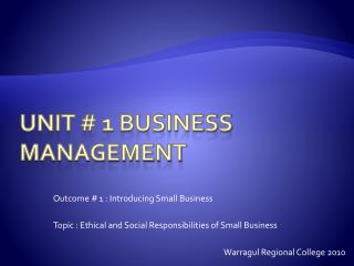 Unit # 1 Business Management