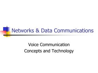 Networks & Data Communications