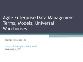 Agile Enterprise Data Management: Terms, Models, Universal Warehouses